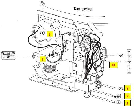 Сборка термостата и реле компрессора.