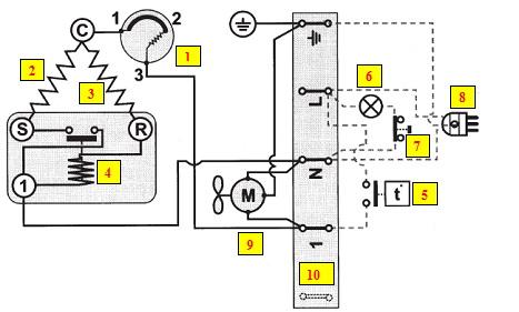 Электрическая схема температурного контроля двигателя